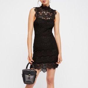 Free People Black Daydream Bodycon Lace Slip Dress